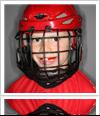 Kidwearing cricket helmet